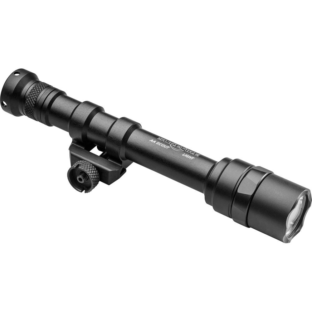 M600AA Scout Light Remote Switch LED Weapon Light provides 300 lumens with a black lightweight anodized aluminum frame and a M75 thumbscrew mount system