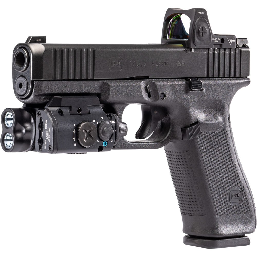 XVL2 Pistol Light and Laser Module System provides over 400 lumens output