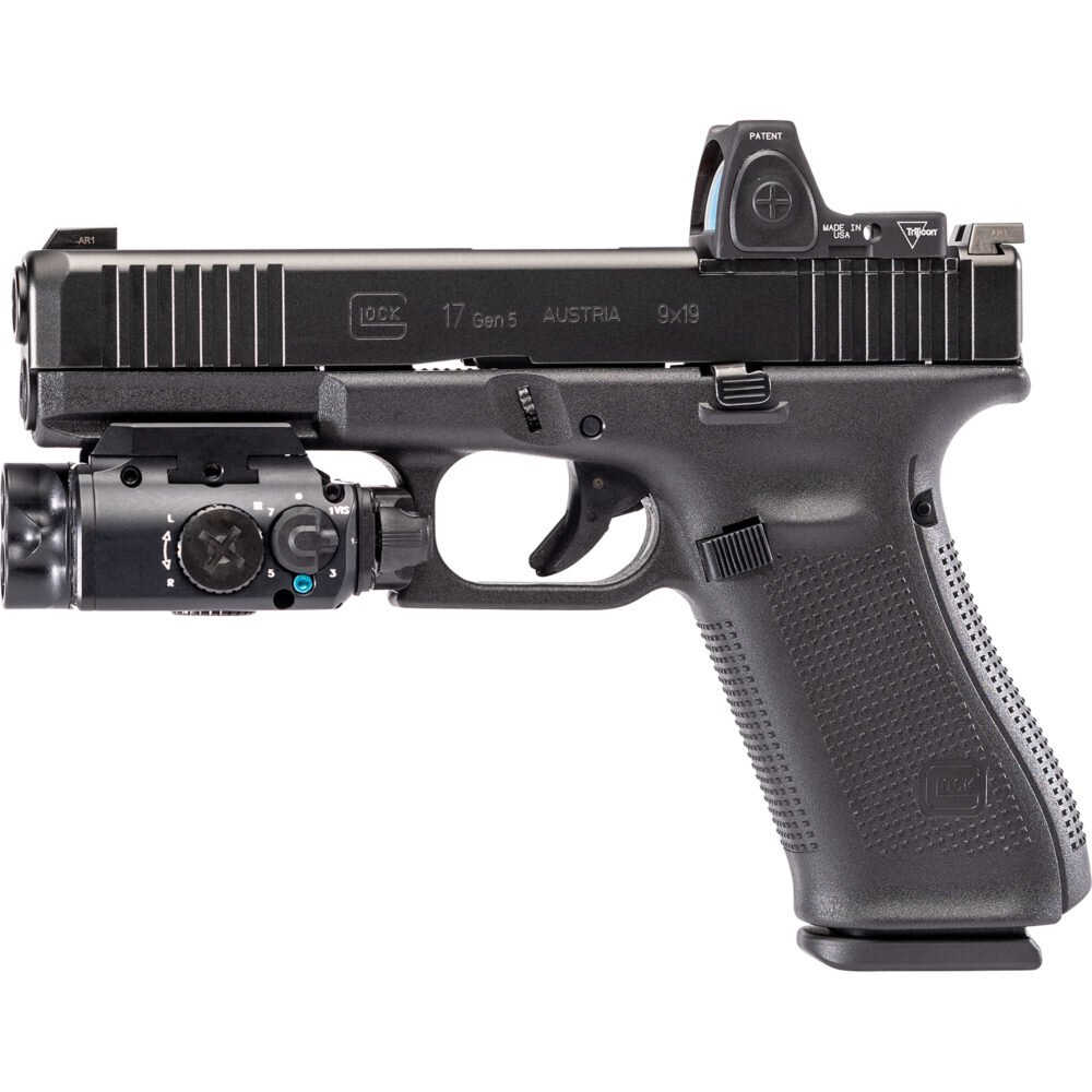 XVL2 Pistol Light and Laser System Module can attach to both universal and picatinny accessory rails