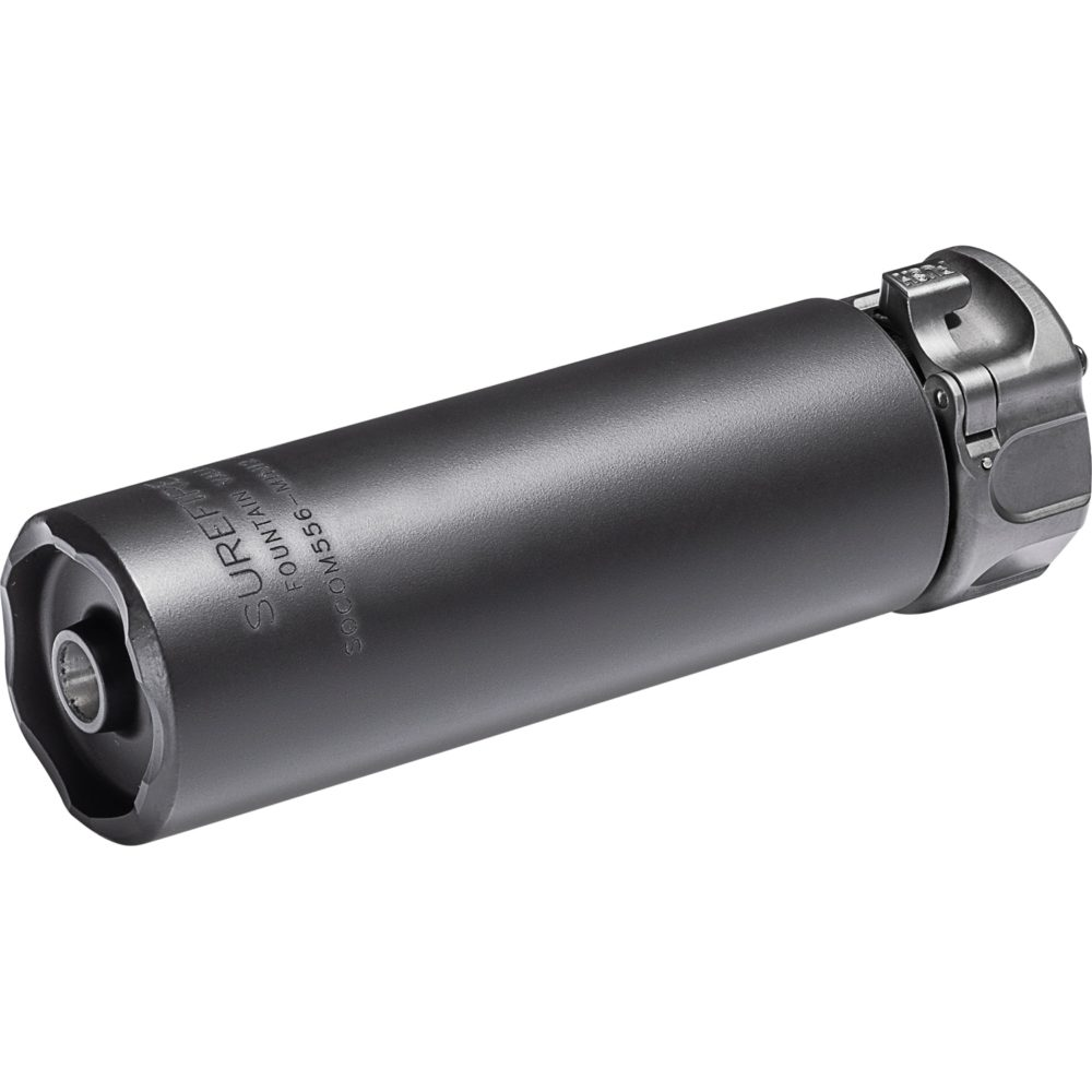 SOCOM556-MINI2 5.56mm Suppressor Gun Silencer constructed in black high temperature alloy and a fast attach mounting system that allows you to stay on target more efficiently