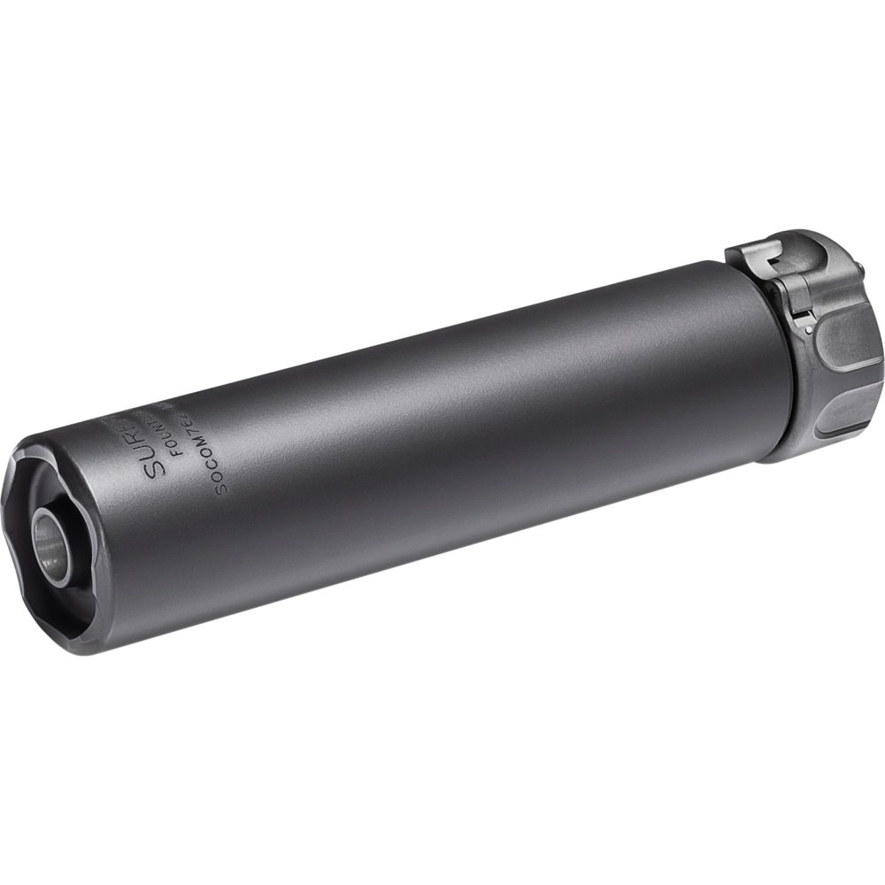 SOCOM762 Mini2 Suppressor Gun Silencer for 7.62mm rifles features a fast attach mounting system and a black high temperature alloy construction