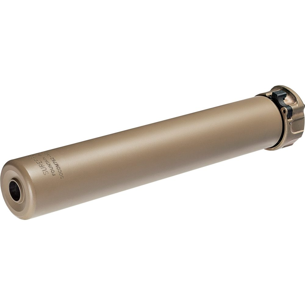 SOCOM762 MG Suppressor Gun Silencer designed for 7.62mm machine guns in dark earth high temperature alloy with fast attach mounting system