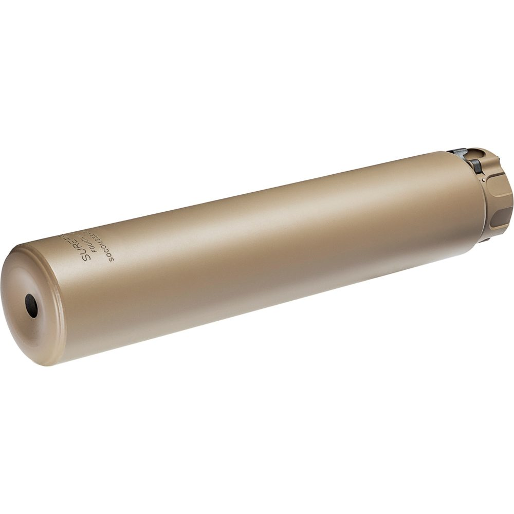 SOCOM338-Ti-DE Suppressor Gun Silencer for .338 caliber weapons constructed with dark earth titanium alloy and fast attach mounting system