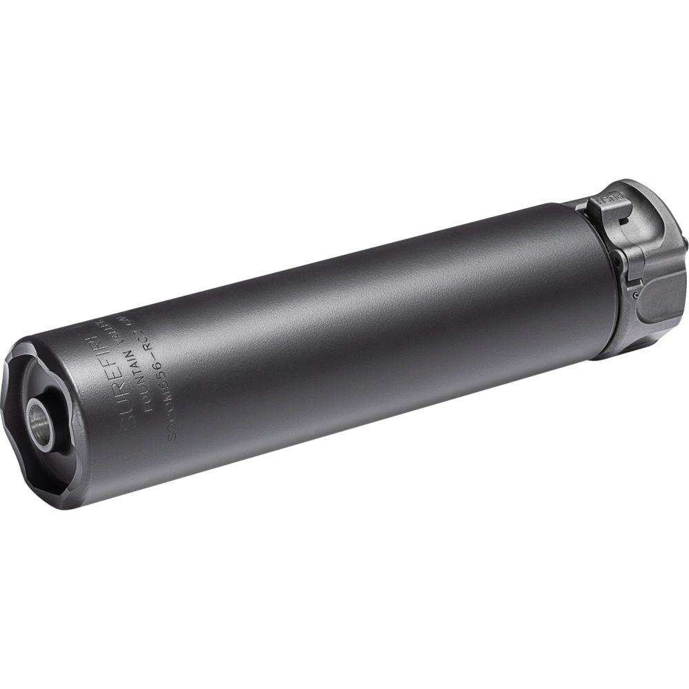 SOCOM556-RC2 .223 Suppressor Gun Silencer with a fast attach mounting system and constructed in black high temperature alloy and stainless steel
