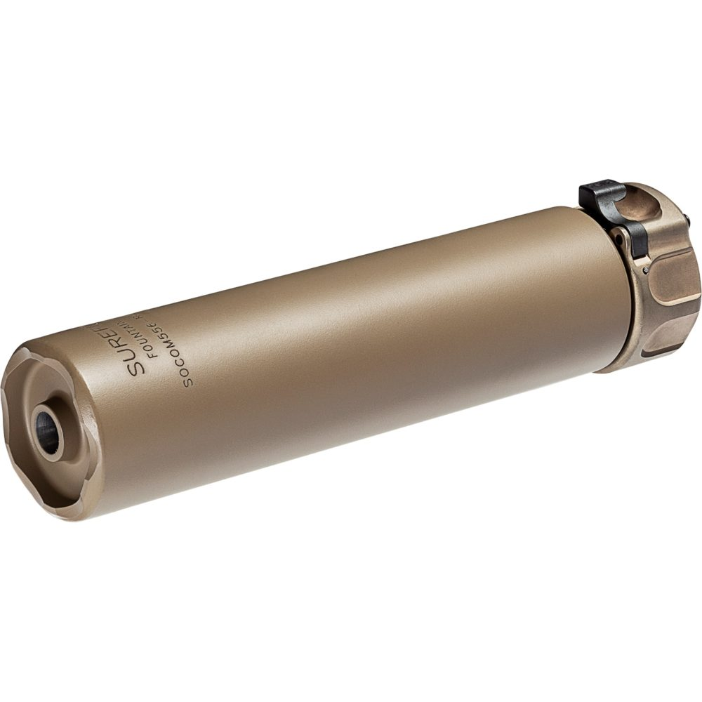 SOCOM556-RC2 .223 Suppressor Gun Silencer for 5.56mm firearms and constructed with dark earth high temperature alloy and stainless steel and is equipped with a fast attach mounting system