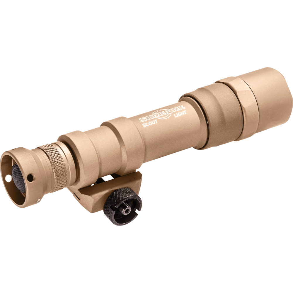 M600DF Scout Light Dual Fuel Rechargeable LED Tactical Weapon Light provides 1,500 lumens constructed in lightweight aerospace tan aluminum