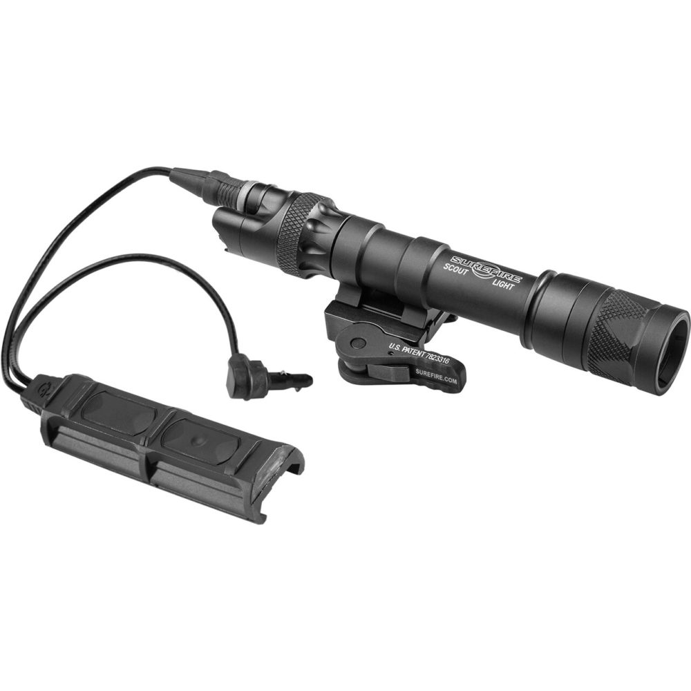 M632V Scout Light LED Weapon Light with waterproof switch assembly in a black anodized aluminum body and a 350 lumens maximum output