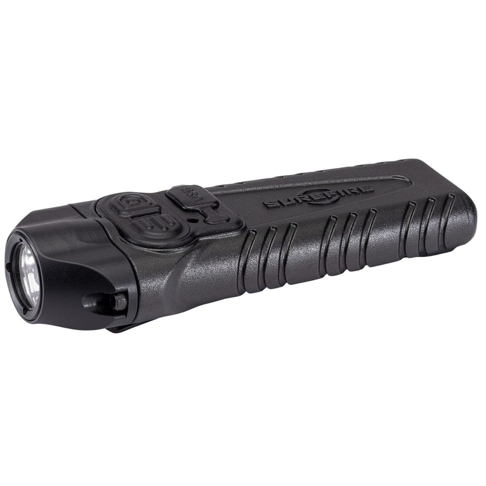 Stiletto Pro Tactical Rechargeable Pocket LED Flashlight provides 1,000 lumens in a black aerospace aluminum