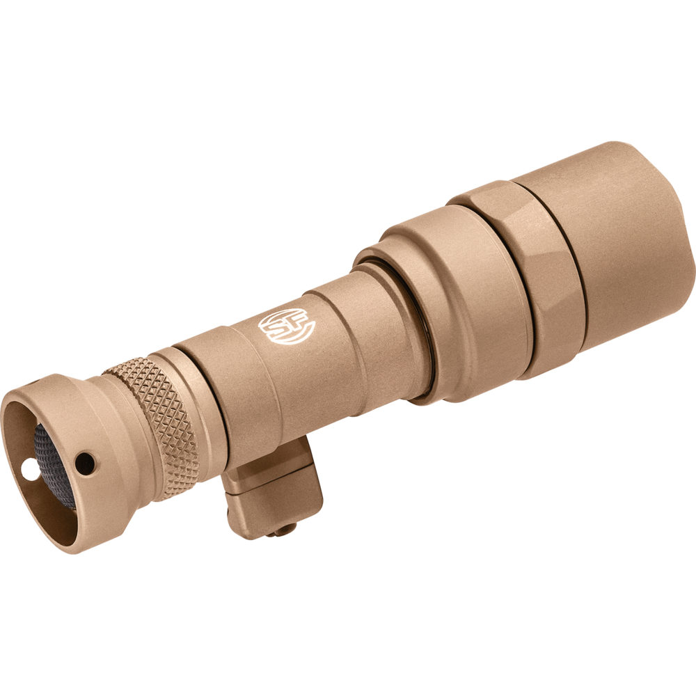 M340C Mini Scout Light Pro Tactical LED Weapon Light with 500 lumens maximum output in tan anodized aluminum construction