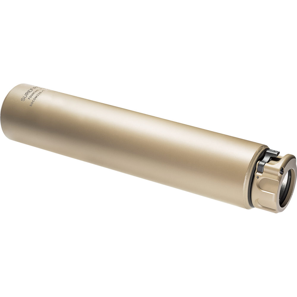 SOCOM338-Ti Suppressor Gun Silencer with Fast Attach Barrel Installation in Dark Earth Color