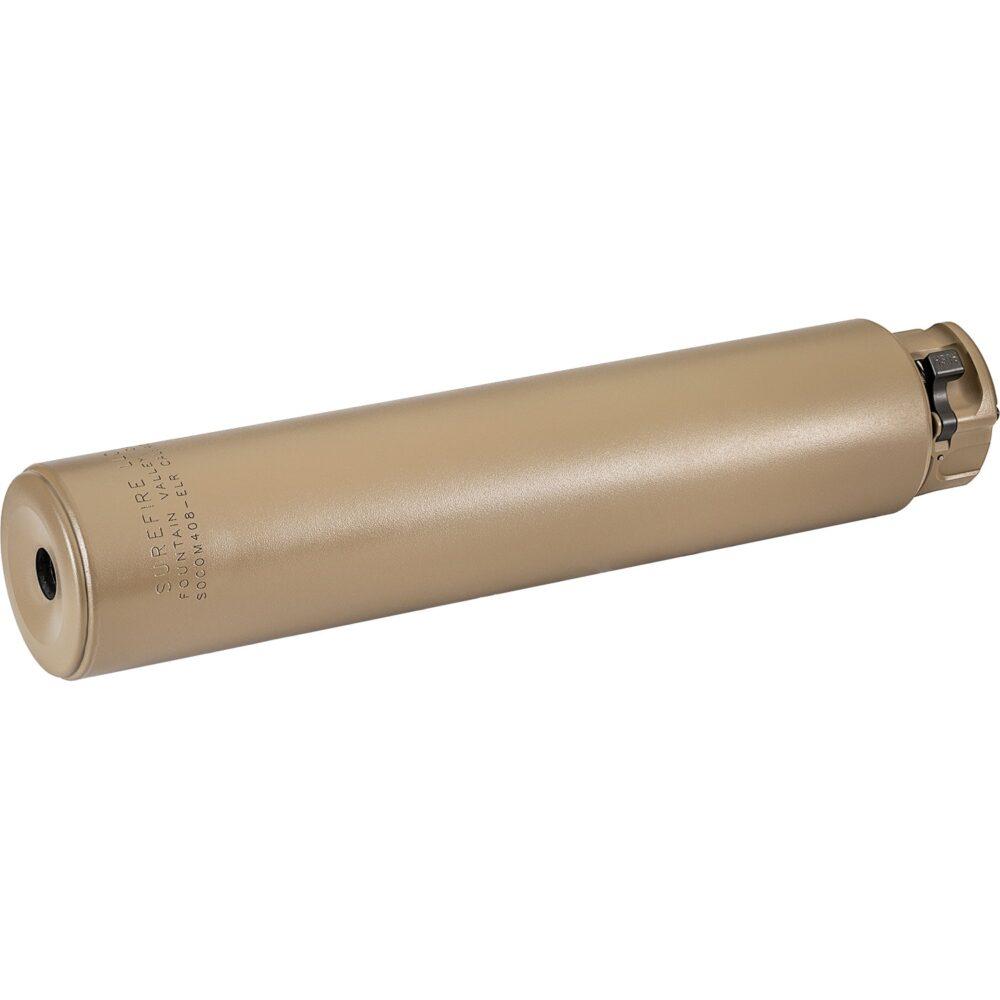 SOCOM408-ELR Titanium Series Fast-Attach Sound Suppressor (Silencer) for sniper rifles in Dark Earth color